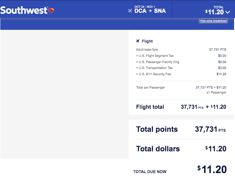 how to redeem chase your points southwest screenshot