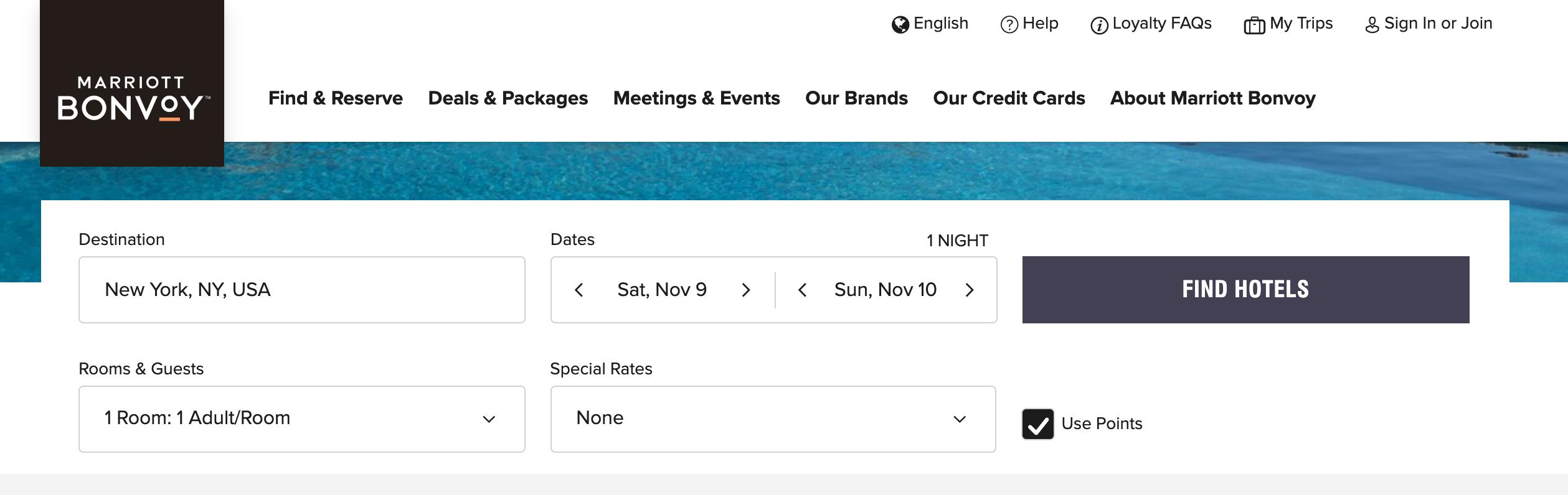Screenshot from Marriott.com