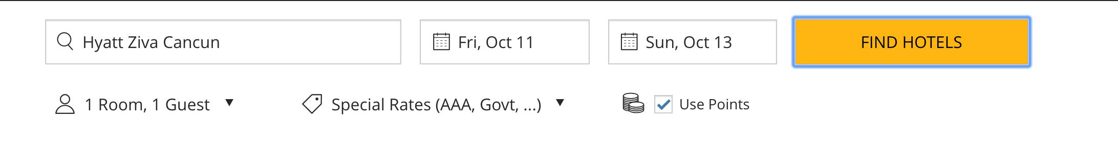 Screenshot from Hyatt.com