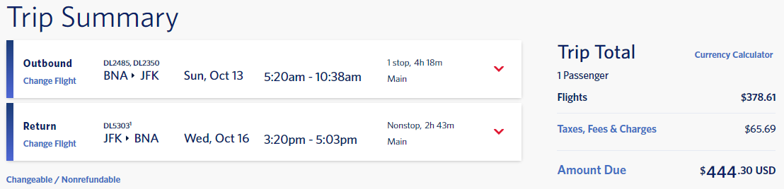 delta flight options bna to jfk october 2019 cash 444
