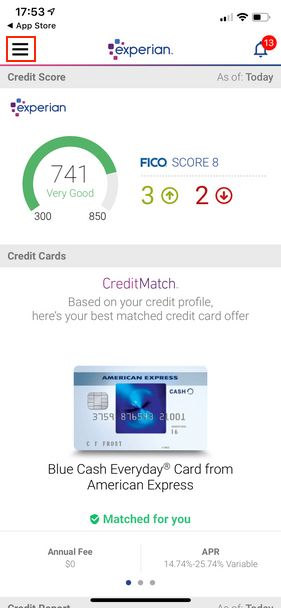 the Experian smartphone app