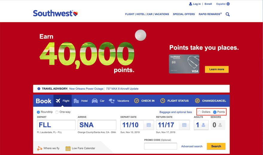 Flying Southwest with Points