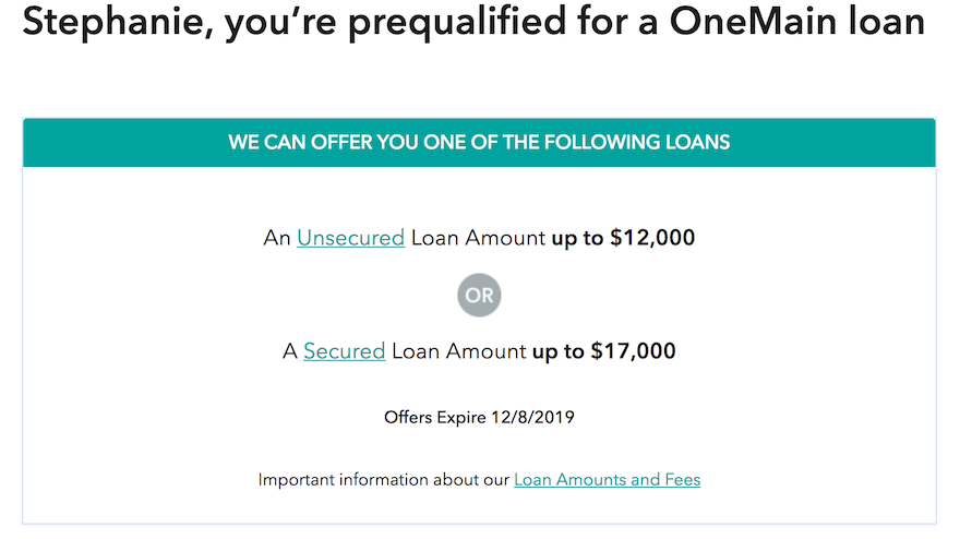 One main financial preapproval